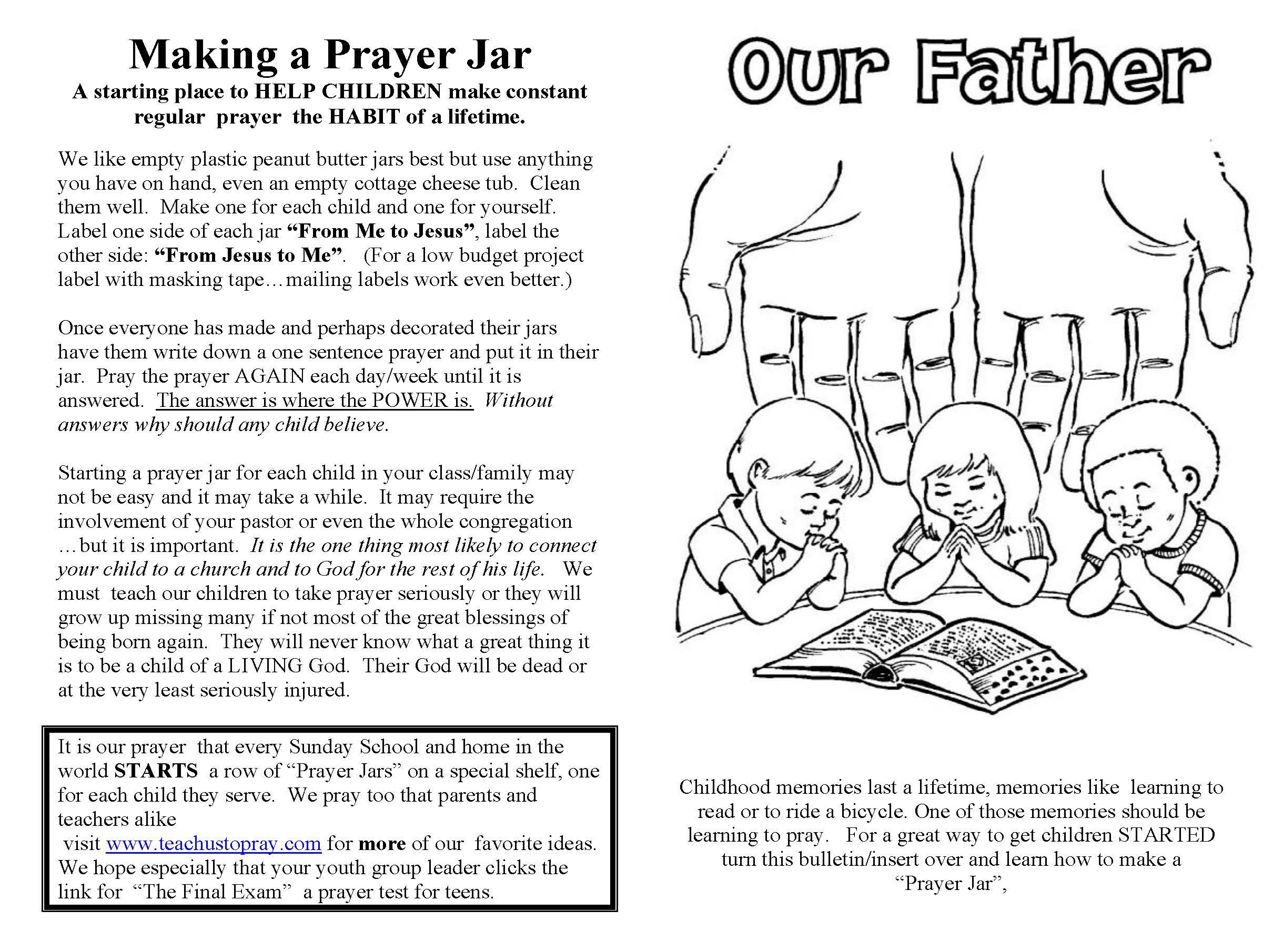 Lord S Prayer For Children Free Prayer Coloring And Prayer Crafts