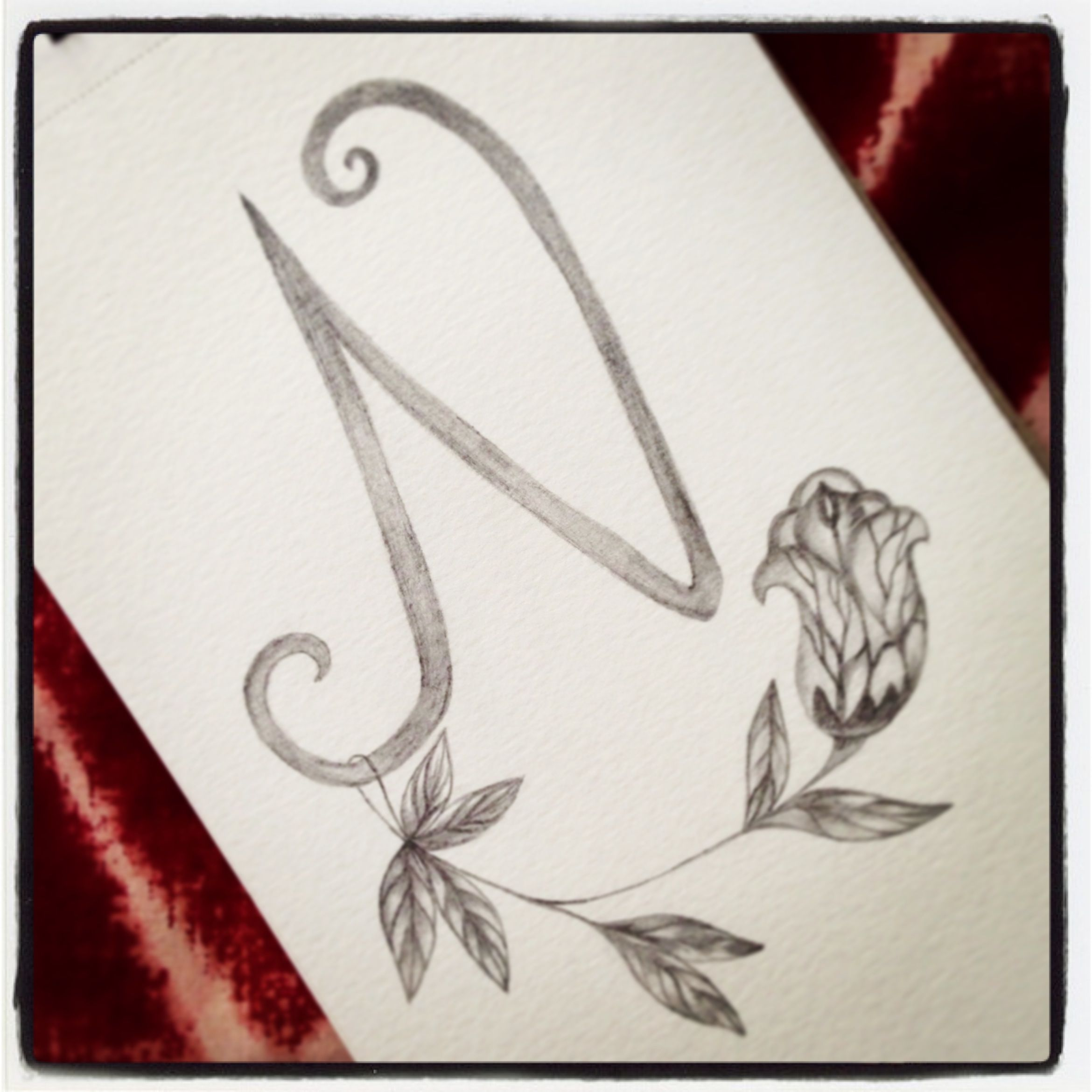 Letter n the initial of my name one of my drawing in pencil practicing