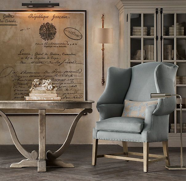 1920s georgian wingback chair by restoration hardware. ordering 2 ...
