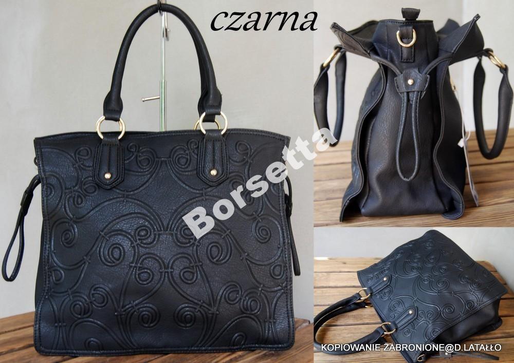 f9f1d03b5dc8d Torebka damska ORNAMENTY CZARNA a4 | Ornamenty