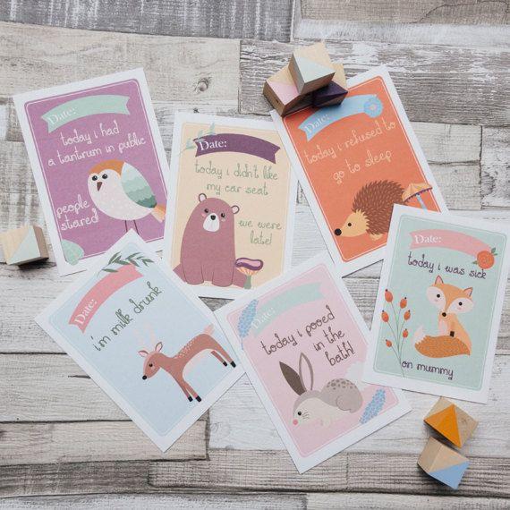Alternative Baby Milestone Cards, New Baby Gift, Personalised Baby  Milestones, Baby Shower Gift