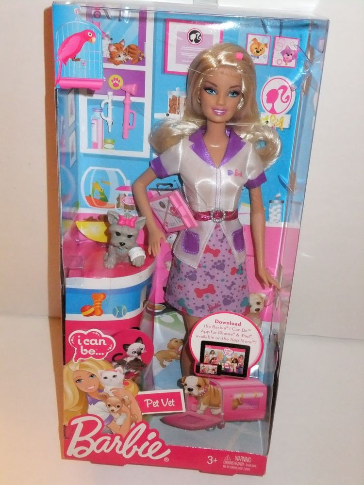 2011 Nib Barbie Doll I Can Be A Pet Vet Gray Grey Yorkie With