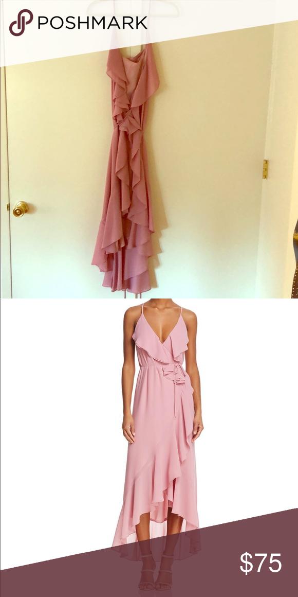 """6351276b35e3c WAYF """"Brandi"""" Pink Blush Crepe Ruffled Wrap Dress Beautiful blush-colored  draped wrap dress. Never been worn! (With tags) Wayf Dresses Midi"""