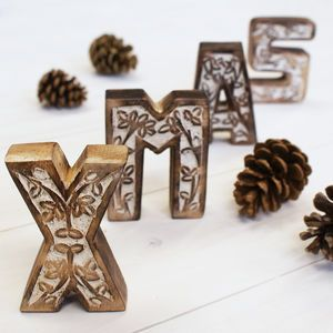 carved wooden xmas block letters
