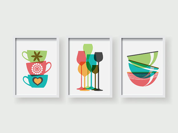 Colorful Modern Kitchen Art Dining Room Wall Art Kitchen Etsy Colorful Kitchen Art Kitchen Wall Art Kitchen Art