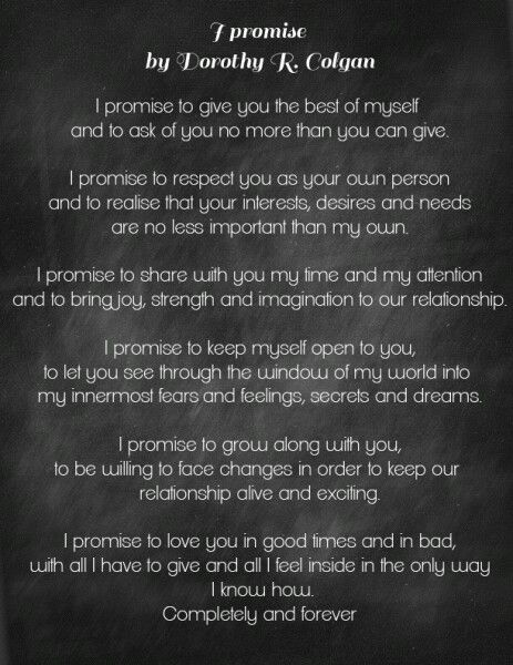 I Would Read This As My Vows