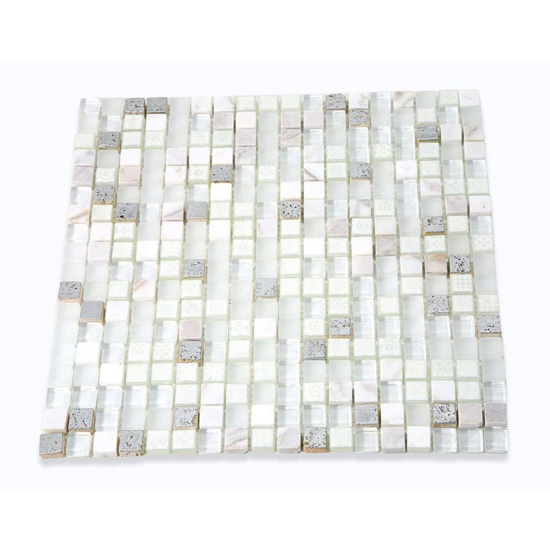 Shop 12 X 12 Alloy Deco Blizzard Polish Frosted Painted Foil Stone And Glass Tile In White Painted Silver Foil Glass Tile Glass Mosaic Tiles Mosaic Glass