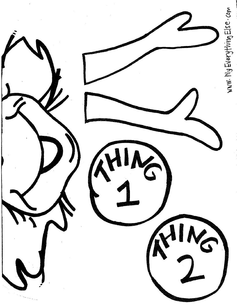 Thing 1 Thing 2 Puppet Dr Seuss Coloring Pages Dr Seuss Classroom Dr Seuss Crafts