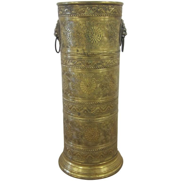Offered By Anne Dittmeier Vintage Brass Umbrella Stand With Decorative Lion Heads From A Unique Colle Umbrella Stand Vintage Brass Modern Vintage Furniture