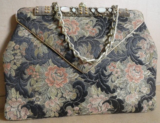 Vintage 1940s Antique Tapestry Handbag Purse With Jewel Embellishment Tiffany Style Gold Chain Gold Chain Handbag Tapestry Handbags Inspired Handbags