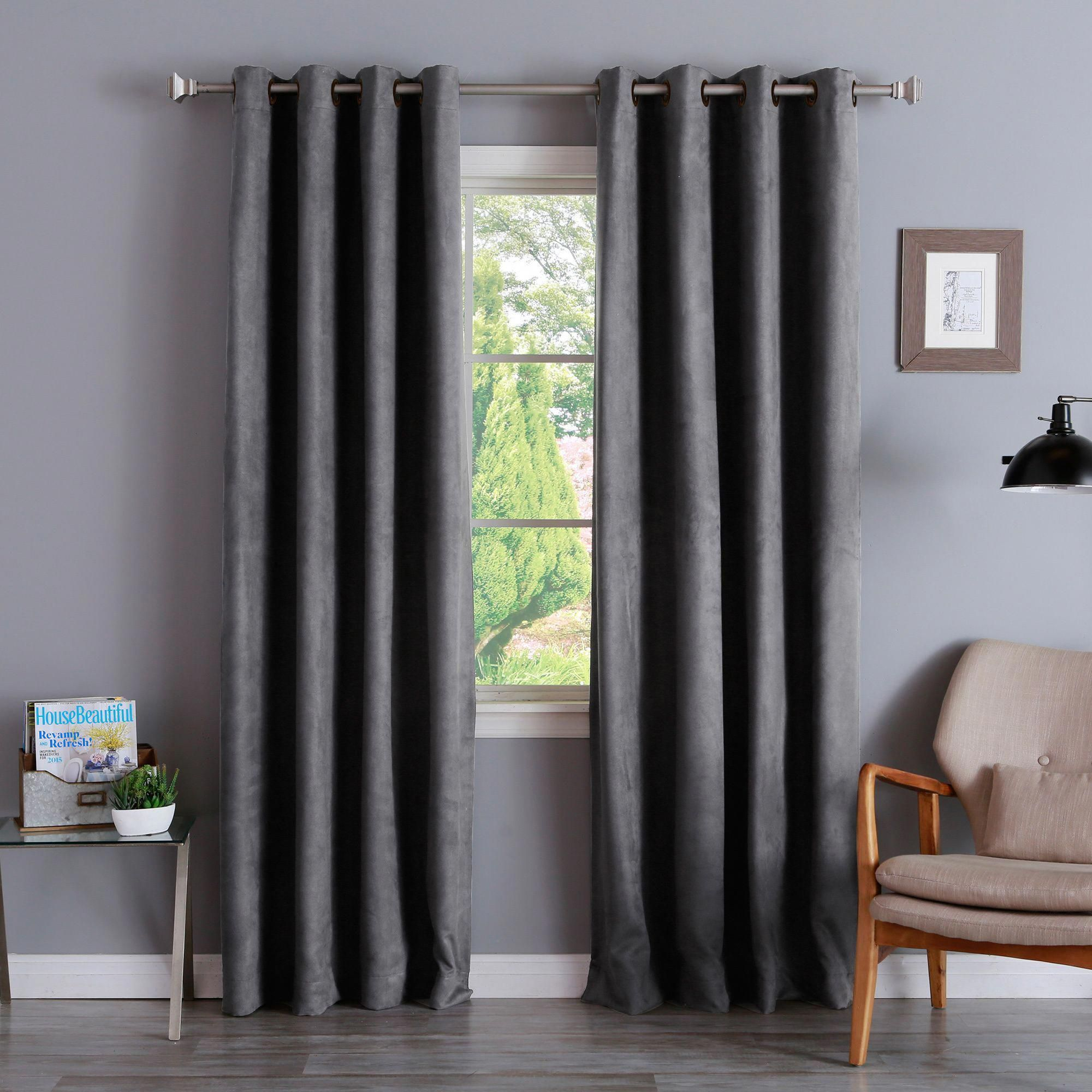 Aurora Home Faux Suede Grommet 84 Inch Insulated Blackout Curtain