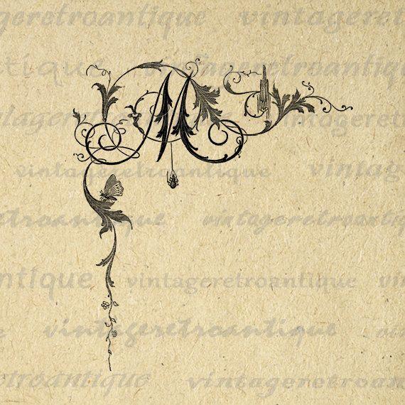 Digital Printable Letter M Download Elegant Floral Ornament
