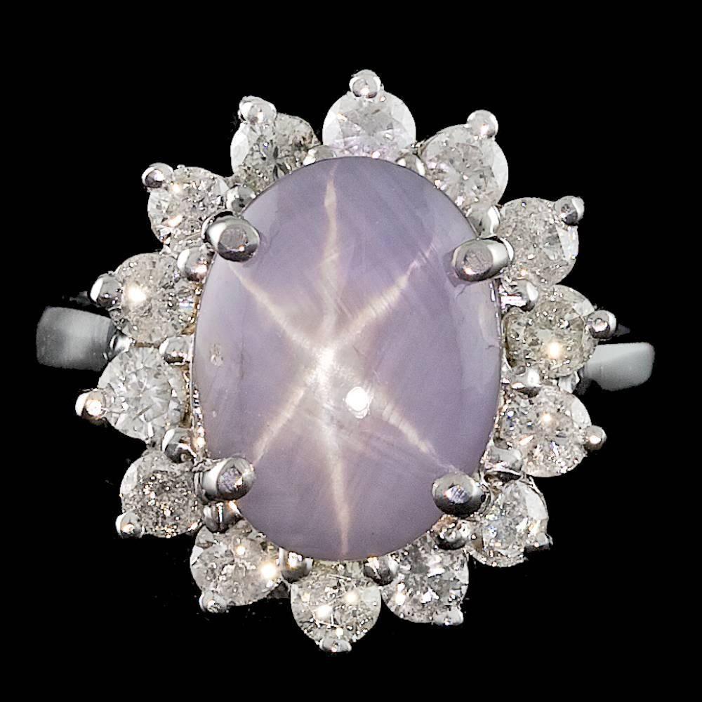 14k white gold 5.50ct star sapphire 1.00ct diamond ring ...