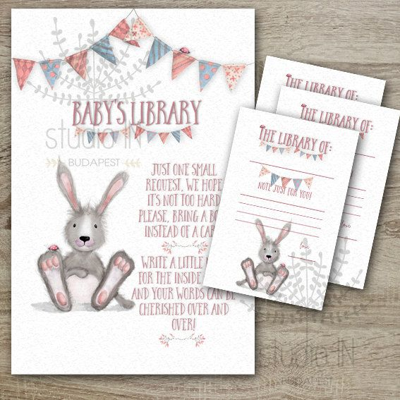 baby shower book instead of a card inserts with bookplate template