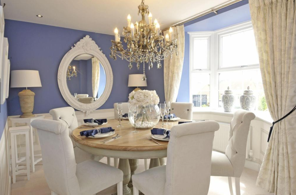 Interior Designed French Lavender Formal Dining Room With White Painted  Mirror. David Wilson Homes 2015.