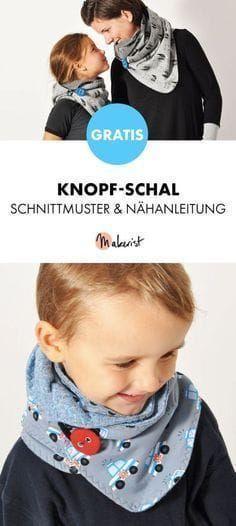 Gratis Anleitung: Knopf-Schal selber nähen - Schnittmuster und Nähanleitung via Makerist.de #strickenundnähen
