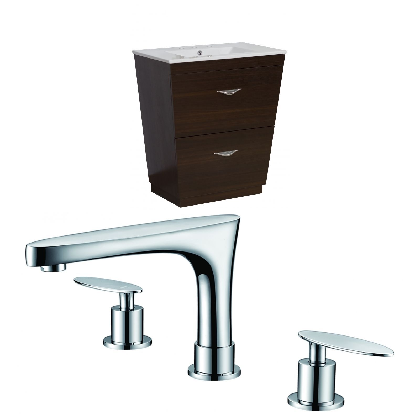 American Imaginations 28-in. W x 18.5-in. D Ply-Melamine Vanity Set In Wenge With 8-in. o.c. Cupc Faucet