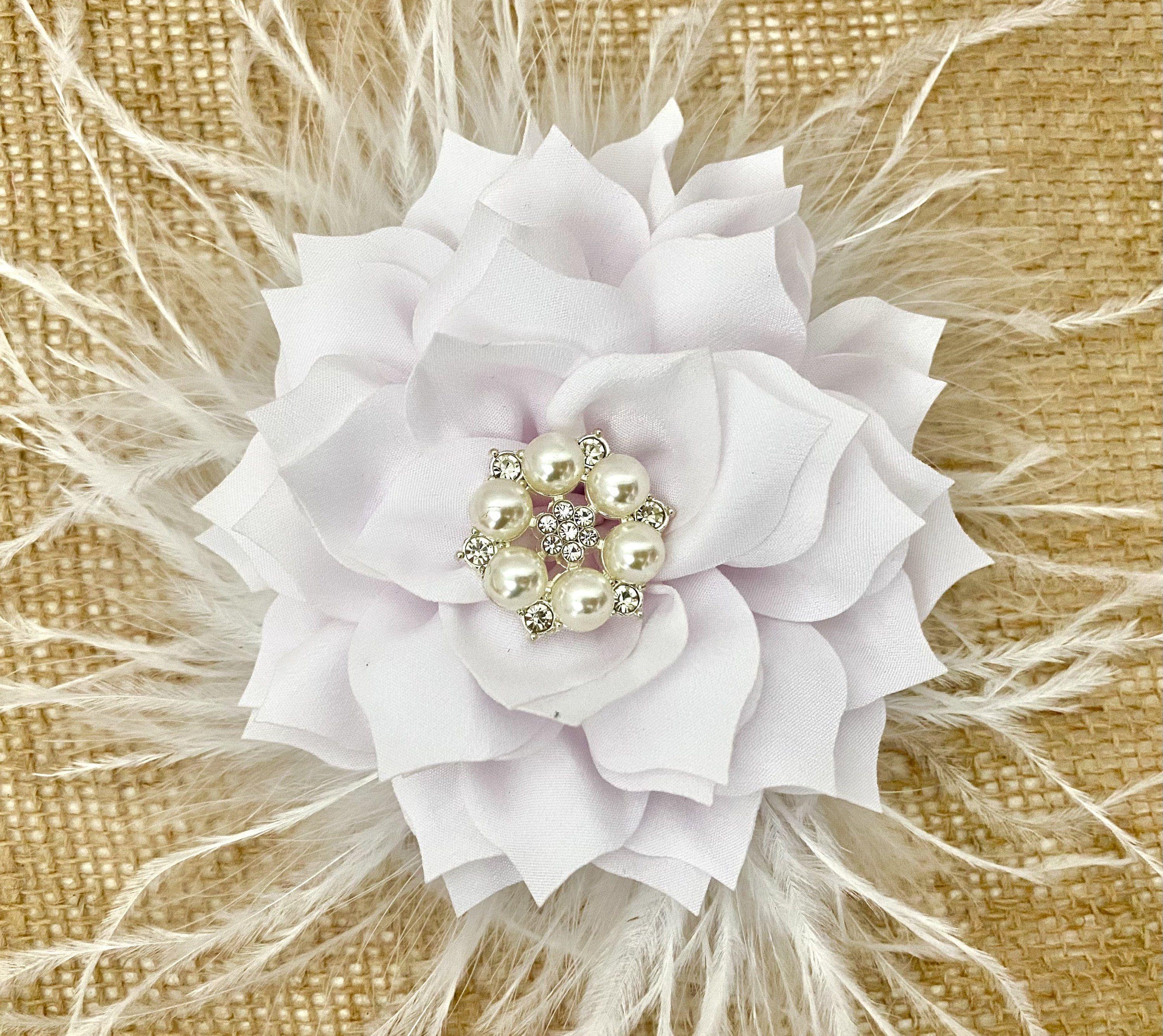 White Floral Hair Bow Clip