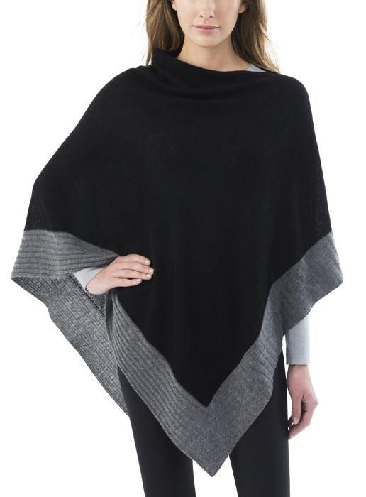Celeste Ladies' WoolCashmere Blend Poncho | Black poncho