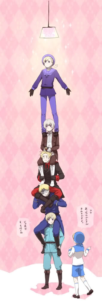 """How many Nordic countries does it take to change a lightbulb? ((Lol Norway is just standing so epicly—""""AND AT LAST I SEEEE THE LIIIGHT~""""  XD"""