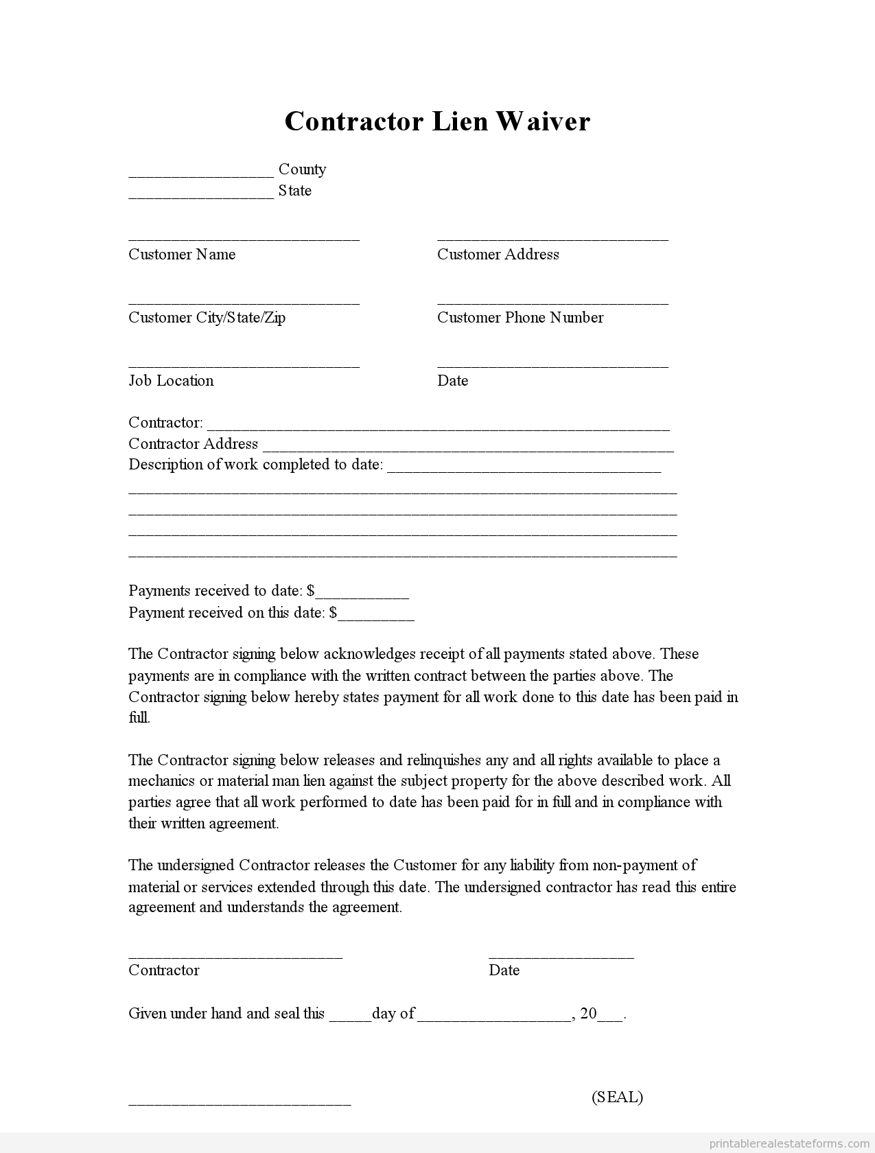 Sample Printable Contractor Lien Waiver Form  Printable Real