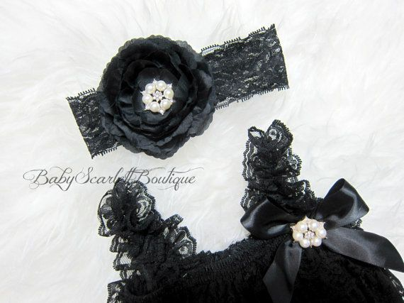 Black Baby Girl Lace Pettiromper with by babyScarlettBoutique, $22.99