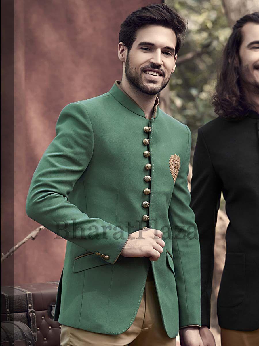 15b6db9ea2 Debonair Green Jodhpuri Suit Mens Indian Wear, Mens Ethnic Wear, Indian Men  Fashion,