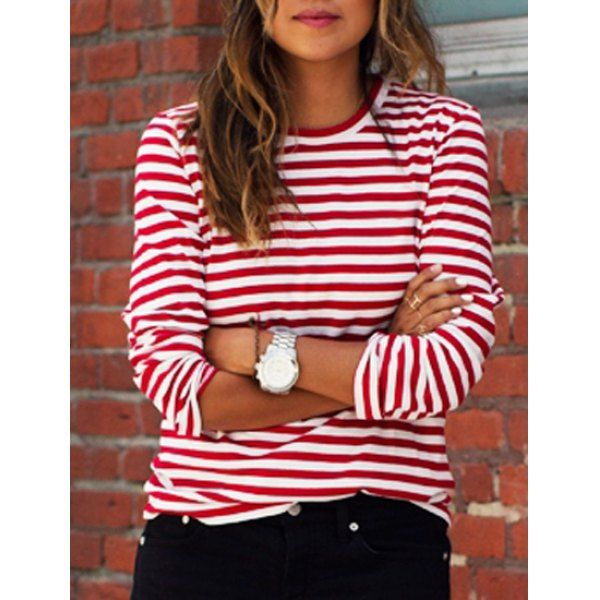 Casual round collar stripes print long sleeve women 39 s t for Blue and white striped long sleeve t shirt