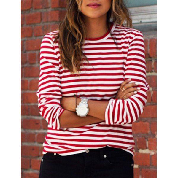 edfbddf1909 Casual Round Collar Stripes Print Long Sleeve T-Shirt For Women ...