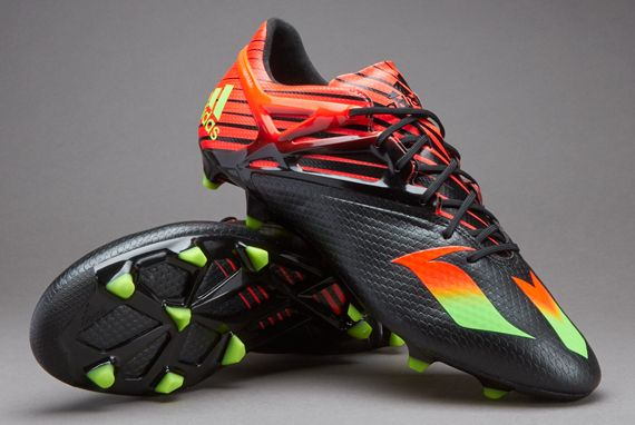 adidas MESSI 15.1 FG - Mens Soccer Shoes - Firm Ground - Core Black/Solar  Green/Solar Red
