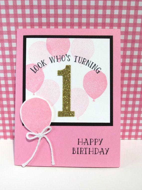Handmade 1st Birthday Card Stampin Up Birthday Balloons Baby Girls 1st Birthday 1st Birthday Cards First Birthday Cards Birthday Cards