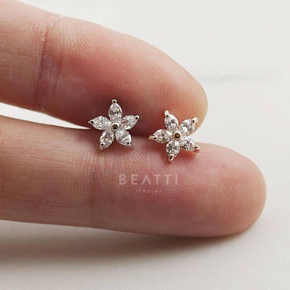 Sparkly Cz Flower Piercing Cartilage Earring Tragus Stud Cz Piercing