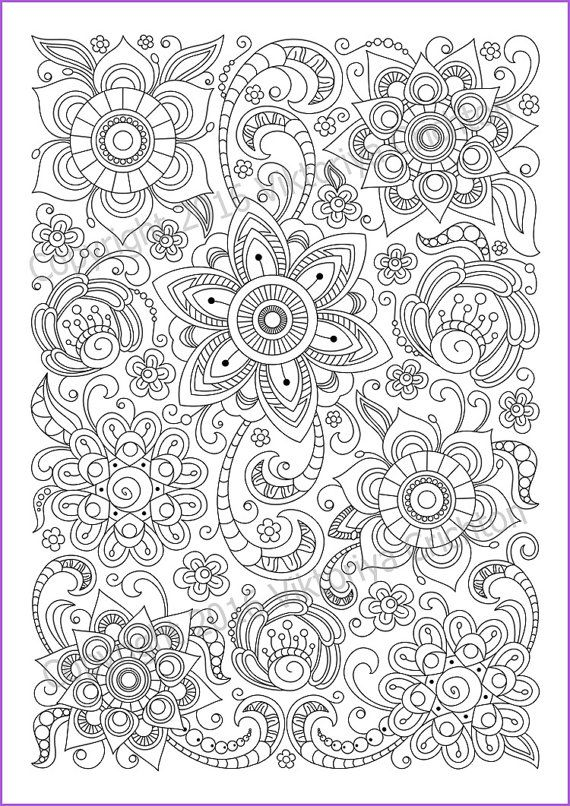 - Сoloring Page Doodle Flowers Printable Zen Doodle PDF Etsy Mandala  Coloring Pages, Coloring Pages, Coloring Books