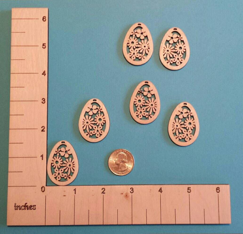 Laser cut flower wood charms for earrings - 3 pairs