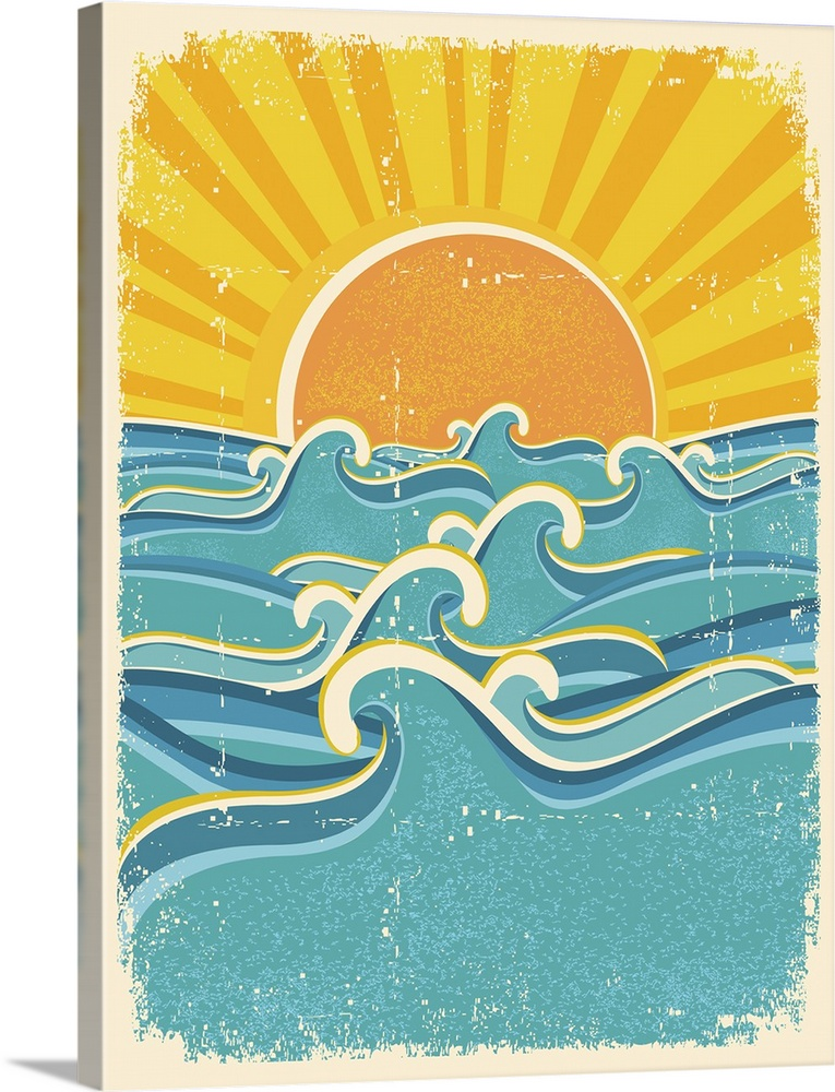 Sunset And Ocean Waves Design Vintage Paper Textures Sun Illustration Sun Painting
