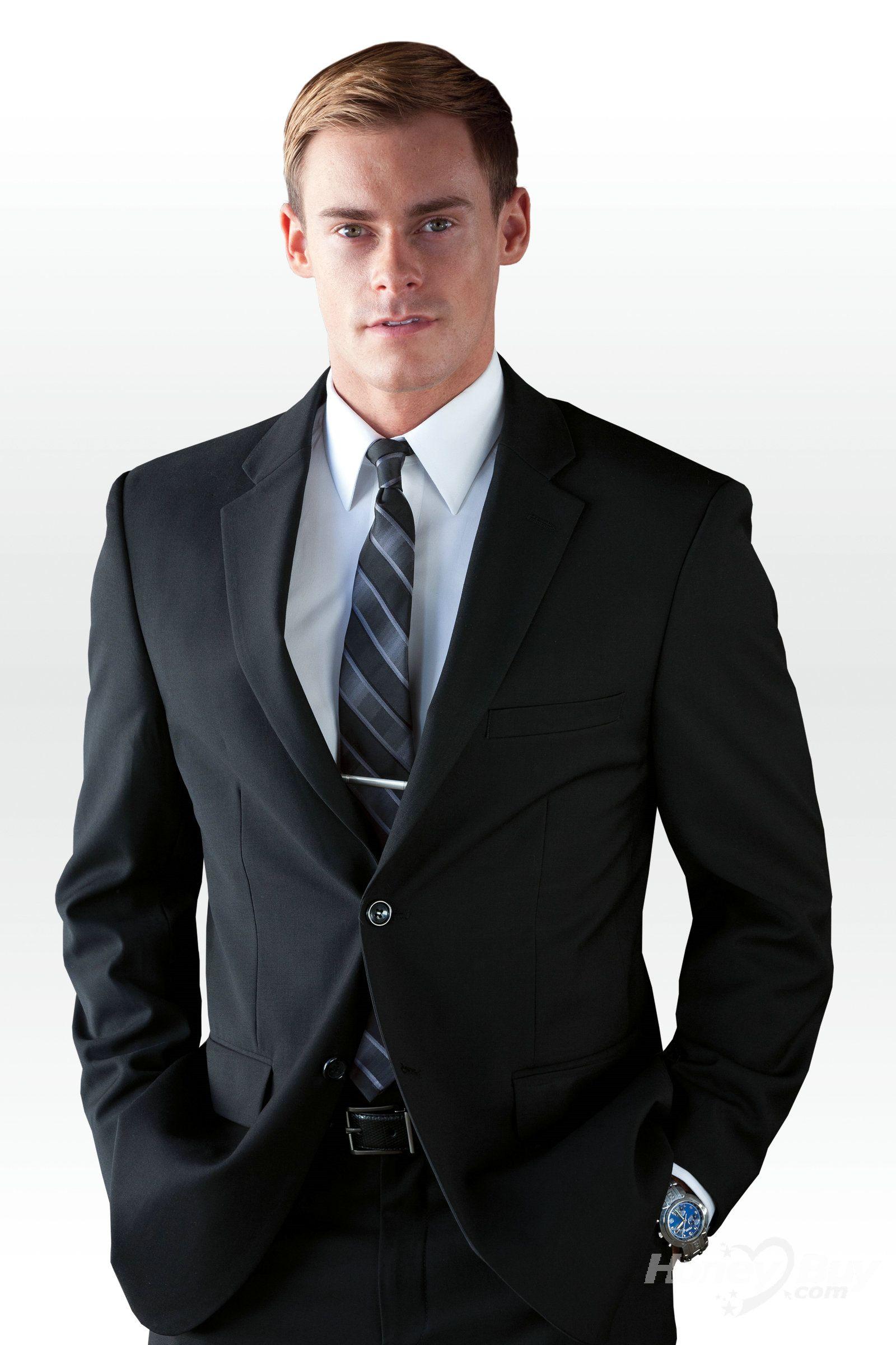 One Button Front Black Mens Formal Notch Lapel Wholesale Dress Suit