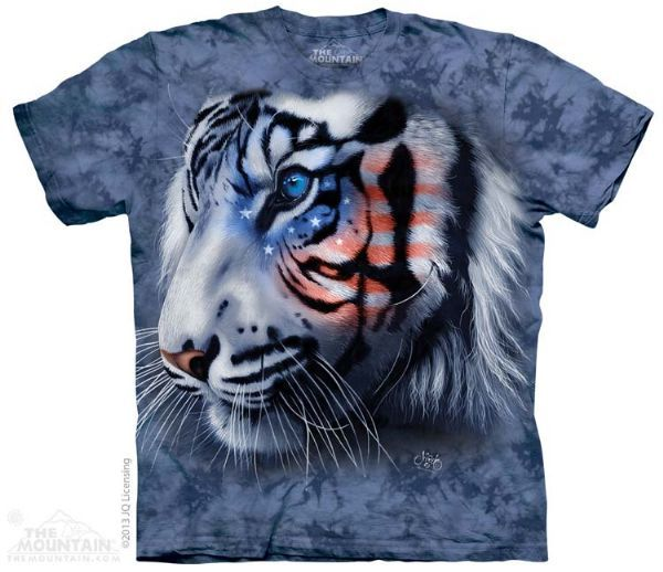 The Mountain White Tiger T-shirt   Stars and Stripes Tiger, New 2014 Adult T-shirts from The Mountain, 103712