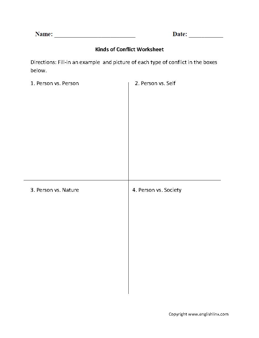 worksheet Rikki Tikki Tavi Worksheets kinds of conflict worksheet 7th grade pinterest worksheets and worksheet