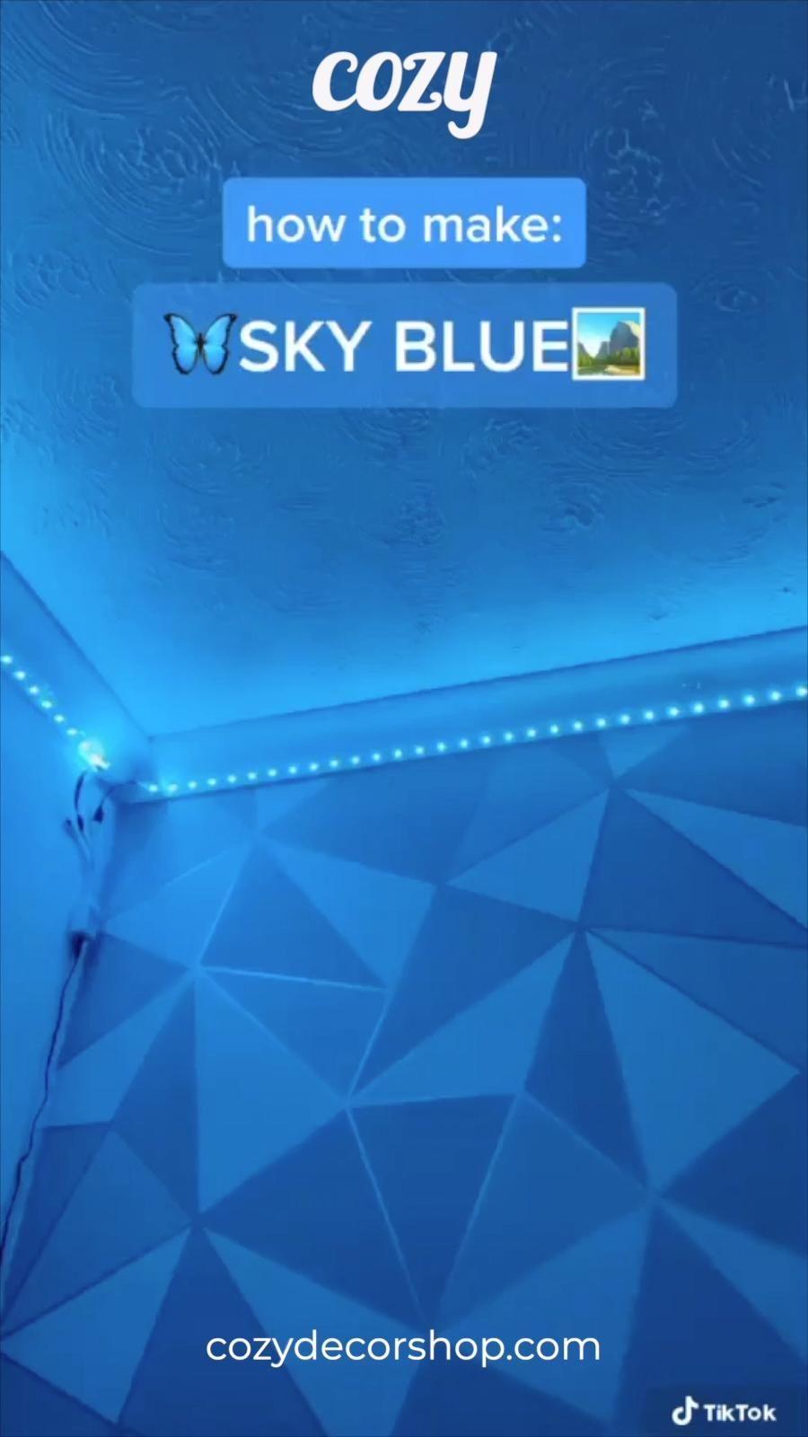 How To Make Sky Blue Led Tiktok Lights Video Led Lighting Bedroom Led Room Lighting Led Lighting Diy