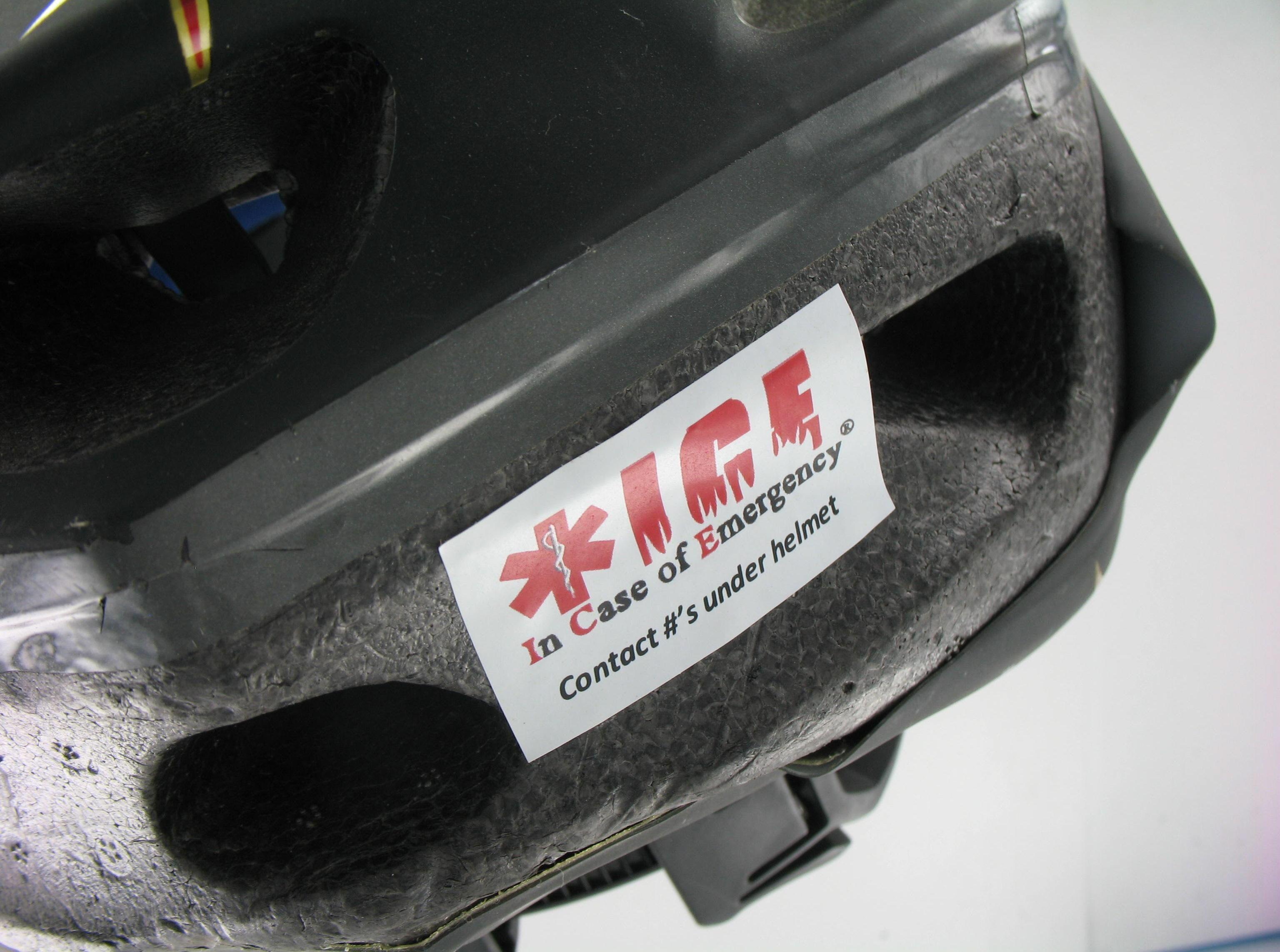 Ice indicator sticker on outside of helmet emergency