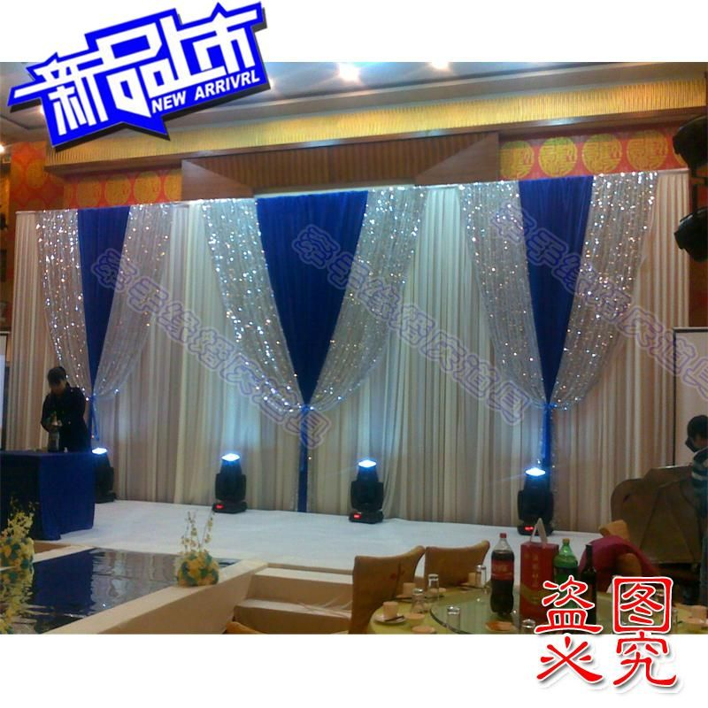 2014 background yarn curtain wedding backdrops blue for Background stage decoration