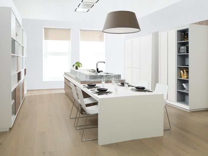 Cocina blanca by porcelanosa cocinas pinterest for Cocina blanca y madera moderna