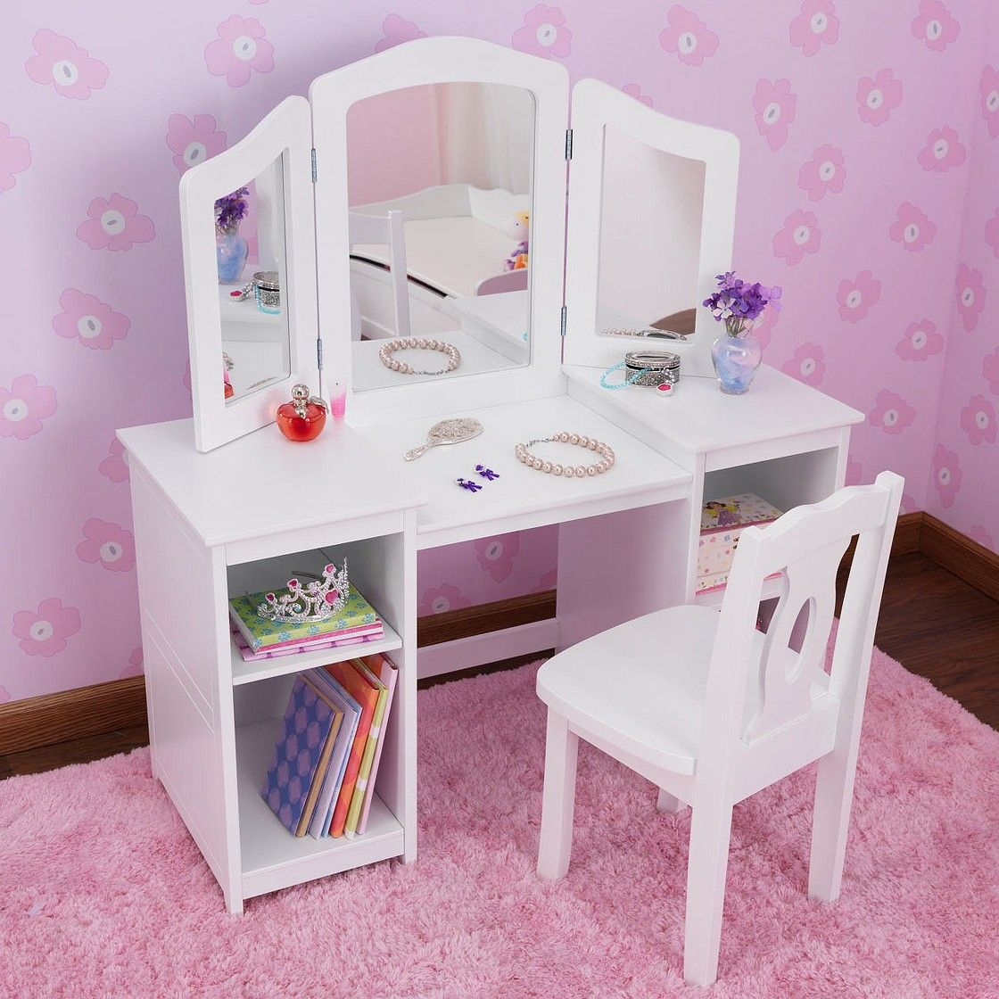 Kidkraft Deluxe Vanity Table With Chair - White Divas