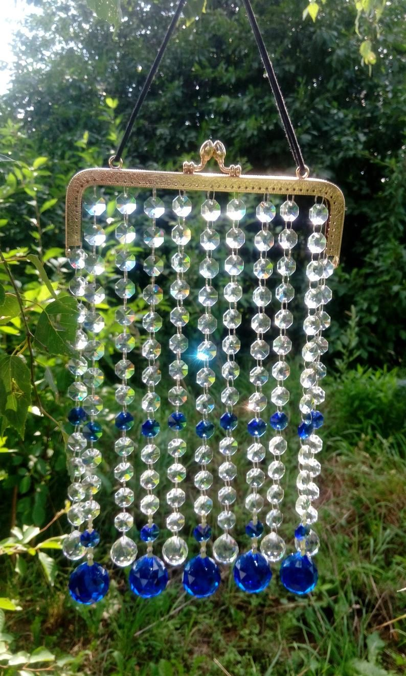 Sun Catcher Repurposed Upcycled Crystal Suncatcher Suncatcher Vintage Chocolate Pot Sun Catcher Beaded Sun Catcher Vintage Mobile
