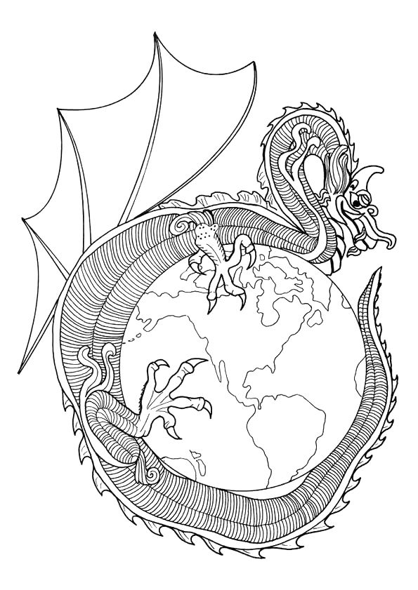 curving around a globe dragons