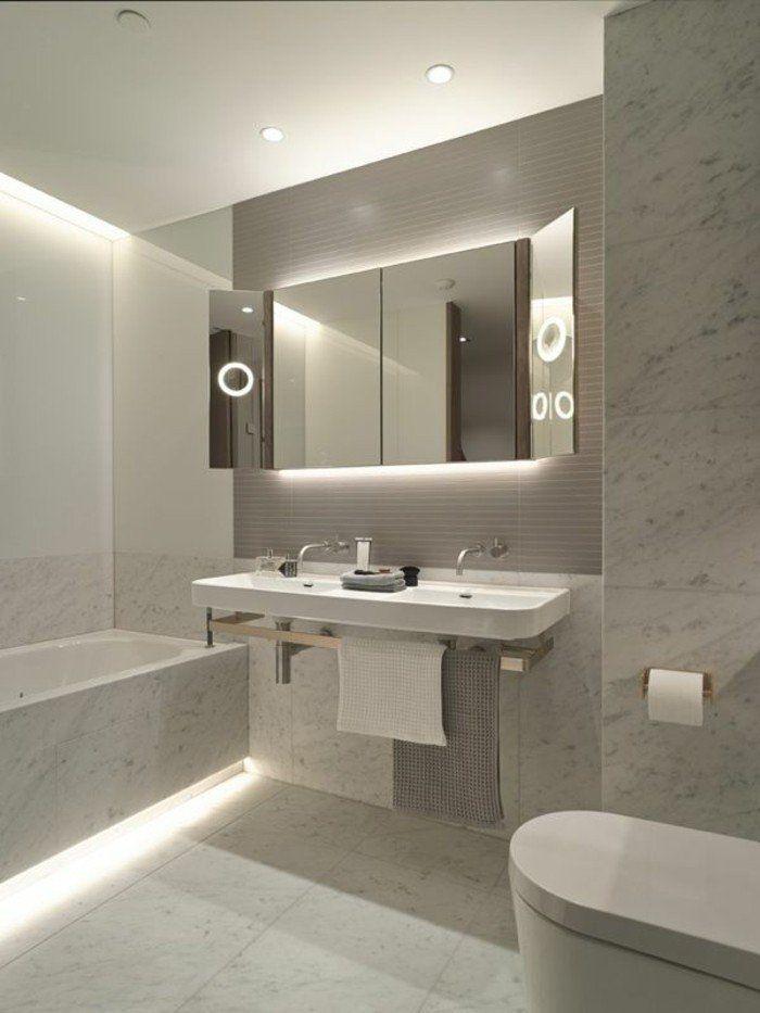beleuchtungsideen badezimmer led lichtleisten | Toiletten ...