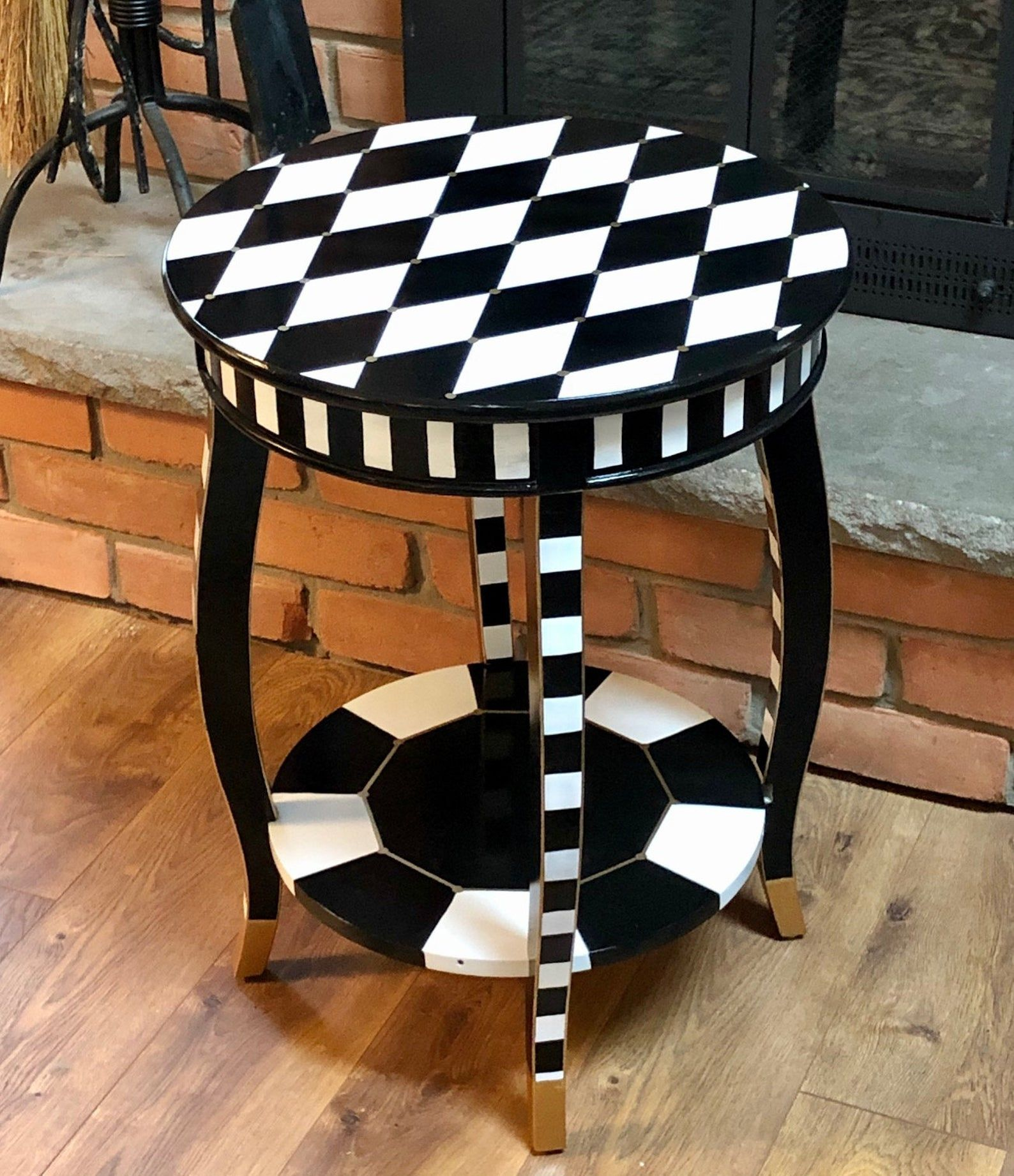 Whimsical Painted Table Black And White Harlequin Painted End Etsy Painted End Tables Painted Table Tops Whimsical Painted Furniture