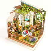 Mehr Puppe HäuserInformationen über 3D Puzzle Kawaii Diy Dollhouse Miniature Handgefertigte Möbel Sonnenschein Garten Haus Möbel Modell Kit Puppe  Pup...