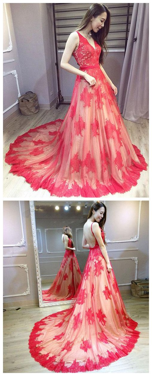 A-line Prom Dresses Red Deep V Lace Sweep/Brush Train Long Prom ...