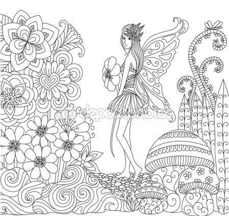 Mano dibujada hadas caminando en la tierra de flores para colorear ...